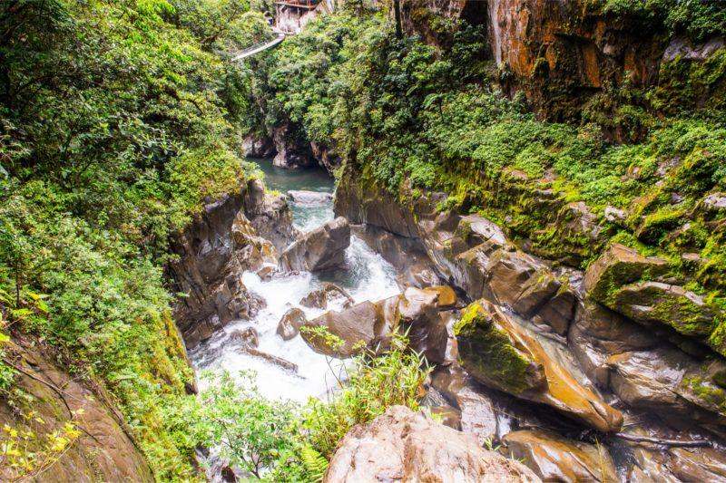 Watervallen Bij Baños In Ecuador