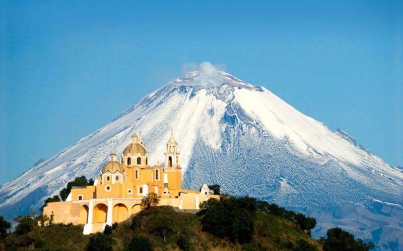 Mexico Puebla Cholula Met Vulkaan Popocateptl