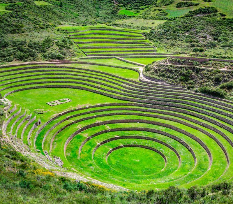De Groene Terrassen Van Maras In De Heilige Vallei