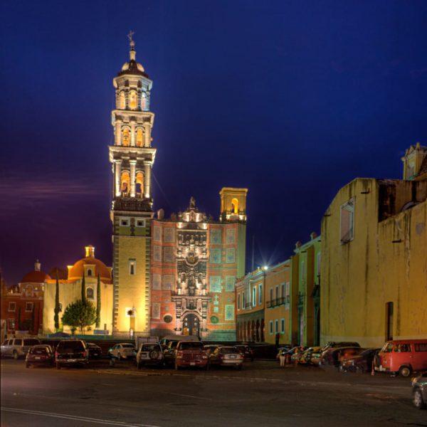 Mexico Puebla Iglesia San Francisco In De Nacht