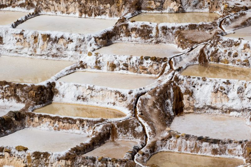 Zoutvlakte Van Maras In De Heilige Vallei In Peru